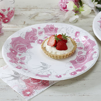 Vintage Style Floral Rose Party Paper Plates