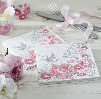 Vintage Style Floral Rose Party Paper Napkins