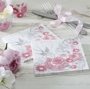 Vintage Style Floral Rose Party Paper Napkins - dining accessories