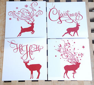Pack Of Eight Reindeer Christmas Cards