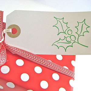 Set Of Five Christmas Holly Gift Tags - ribbon & wrap