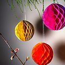 Set Of Three Paper Honeycomb Baubles