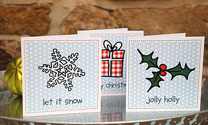 Pack Of Six Polkadot Christmas Cards - christmas cards