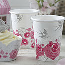 Vintage Style Floral Rose Paper Party Cups