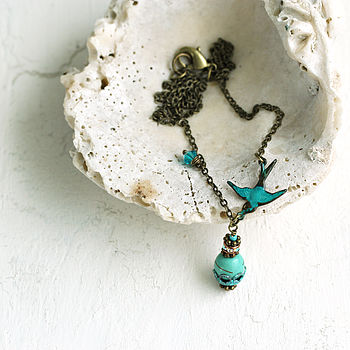 Bird Necklace With Turquoise Gemstone Pendant