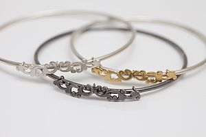 Silver Moving Filigree Stacking Bangle