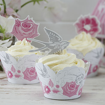 Floral And Swallow Cupcake Wraps And Toppers