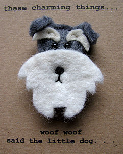 Salt And Pepper Schnauzer Dog Felt Brooch - pins & brooches