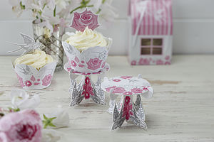 Rose And Swallow Individual Cupcake Stands - cake decorations & toppers