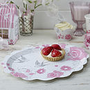Floral Rose And Swallows Paper Platters