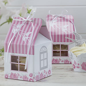 Swallow And Floral Party Cupcake House Boxes - cake stands