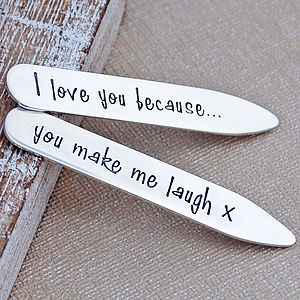 Personalised Silver Shirt Collar Stiffeners - personalised