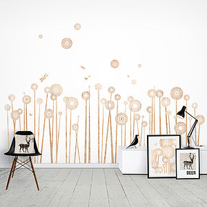 Wood Print Wild Flowers Wall Stickers - decorative accessories