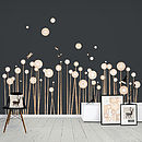 Wood Print Wild Flowers Wall Stickers