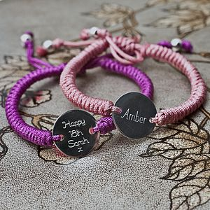Personalised Silver Disc Friendship Bracelet - shop by occasion
