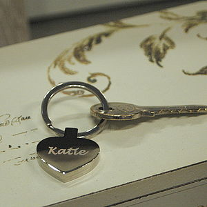 Personalised Silver Heart Key Ring - accessories