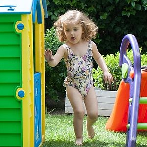 Girls Floral Swimming Costume