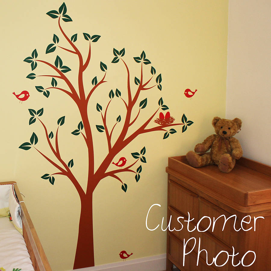 birds nests in tree wall sticker by parkins interiors bird cage tree nursery wall stickers auall314 88 80