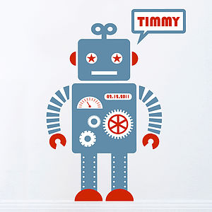 Personalised Robot Wall Sticker - wall stickers