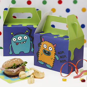 Monster Kids Birthday Party Party Boxes - lunch boxes & bags