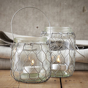 Chicken Wire Tea Light Holder - candles & candlesticks