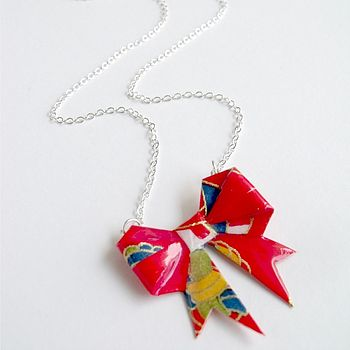 Bright Temari Washi Paper Bow Necklace