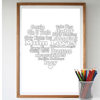 Personalised 'Mum Loves' Colour Me Print