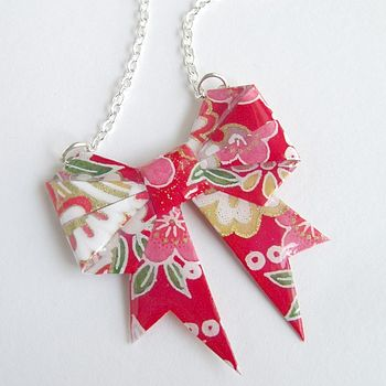 Lucky Washi Paper Origami Bow Necklace