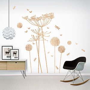 Wood Print Cowparsley Wall Stickers - wall stickers by room