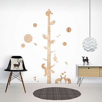 Wood Print Height Chart Wall Stickers