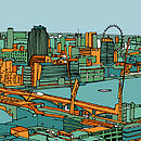 London Skyline Southbank Print Orange