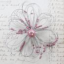contemporary flower brooch pale pink
