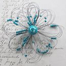 contemporary flower brooch teal