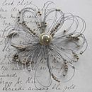 contemporary flower brooch cream