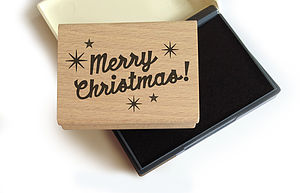 'Merry Christmas' Rubber Stamp And Ink Set - office & study