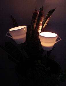 30's Tea Cup Tea Light Burner - outdoor decorations