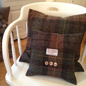 Autumn Bracken Harris Tweed Cushion - bedroom
