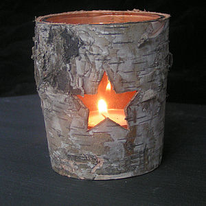 Birch Bark Tea Light - christmas lights