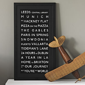 Personalised Destination Print - engagement gifts