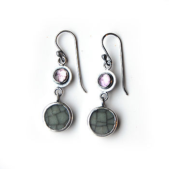 Amethyst And Crackle Pottery Earrings