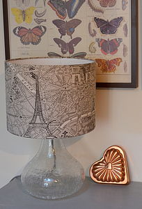 Paris Map Fabric Lampshade - living room