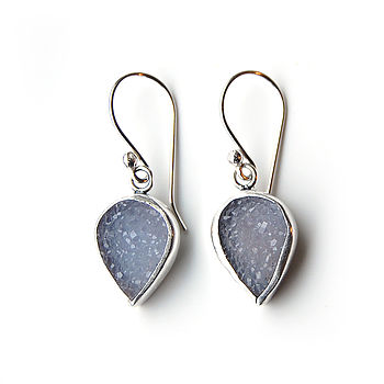 Agate Druzy And Silver Drop Earrings