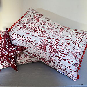 Christmas Carol Cushion - christmas home accessories