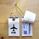 Monogrammed sailcloth luggage tag