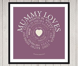 Personalised 'Mum Loves' Print - art & pictures