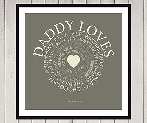 Personalised 'Daddy Loves' Print - posters & prints