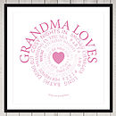 Grandma loves print fuschia on white