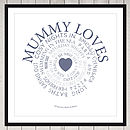 Mummy loves print stone blue on white