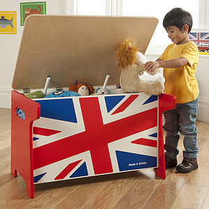 Union Jack Wooden Toy Box And Desk