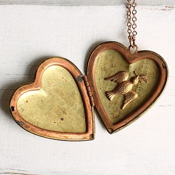 Heart Locket With Dove